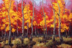 Fall Joy 24x36 Original LARGE Oil Painting Impressionism Fall Autumn Aspens Birch trees by Carl Bork on Etsy, 188,24 €