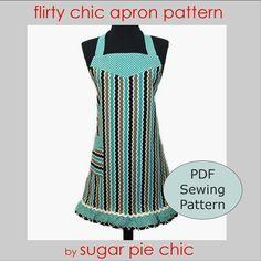 retro apron pattern, vintage apron, easy apron pattern