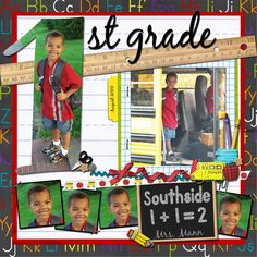 Cute & Colorful School Scrapping Page...with ruler trim.