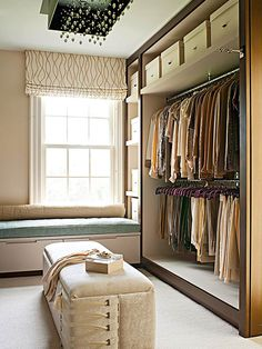 Dress It for Success: It makes sense for a walk-in closet to also serve as a dressing room. Most of your wardrobe is at hand, just waiting to be donned. So include benches or window seats (preferably with storage below) for setting out the clothing you're considering and for sitting down to pull on socks and shoes. Make sure there's plenty of light -- from windows, ceiling fixtures, and table and floor lamps -- to help you create flawlessly color-coordinated outfits.