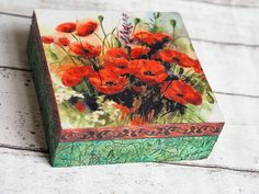 Mother's Home Gift Jewelry Vintage Box Poppy Home Decor Jewellery Boxes, Jewelry Box, Vintage Jewelry, Flower Jewelry, Poppy Decor, Home Decor Boxes, Vintage Box, Shabby Vintage, Decoupage Box