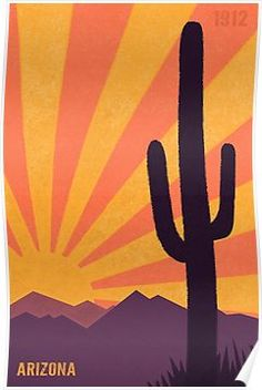 'Arizona' Poster by AtomicChild Arizona Flag, State Of Arizona, Flag Painting, Mirror Painting, Desert Art, Desert Sunset, Painted Rock Cactus, Painted Rocks, Wine And Paint Night