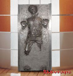 Hans solo carbonite  RM wraps custom size the image to your refrigerator measurements. Just tell  Rm wraps what your door measurements.