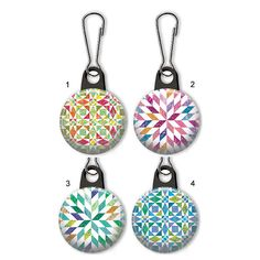 Quilt pattern zipper pull.  Quilting charm.  Quilt zipper pull charm.  Customized zipper pulls available.