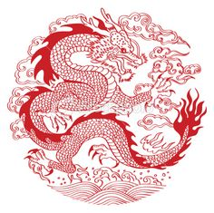 Chinese dragon flying over waves, round pattern. Chinese Dragon Drawing, Chinese Drawings, Chinese Dragon Tattoos, Chinese Art, Art And Illustration, Ink Illustrations, Red Dragon, Dragon Art, Dragon Head