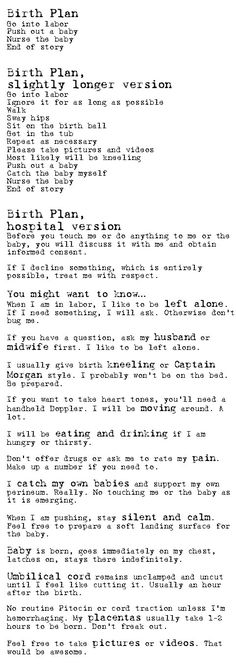 Birth Plan- LOVE THIS! #doula #birth
