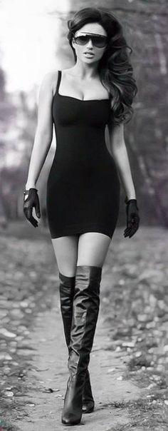 A bit too femme fatale but I like the idea of the leather gloves.