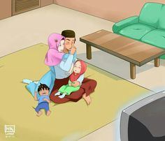 Some dreams that i wanna enjoy only with you my Hedi😍😍 Muslim Couple Quotes, Cute Muslim Couples, Cute Couple Art, Anime Love Couple, Cute Family, Family Goals, Islam Marriage, Islamic Cartoon, Family Drawing