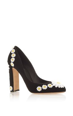 Wool And Goat Leather Pumps With Daisy Applique by DOLCE & GABBANA Now Available on Moda Operandi