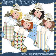 Chubby Elf Stockings 1- #Clipart #ResellableClipart #Christmas #Stockings #Elf #Girls