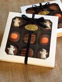 Milk Chocolate Halloween Oreo Cookies... Ghosts & Pumpkins... www.rosebudchocolates.com