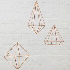 Set de 3 piezas decorativas Prisma cobre