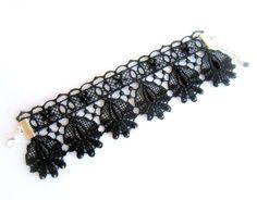 Black lace bracelet embroidered lace bracelet by MalinaCapricciosa