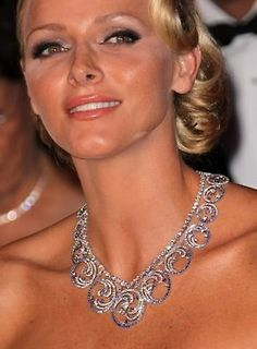 Princess Charlene wearing the Ocean tiara as a necklace