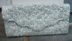 vintage Light Blue Sequin Beaded Clutch, Formal evening bag by AngelGrace