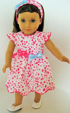 Pink and White Delight! Dress, Headband for 18 Inch Doll Little Dresses, Girls Dresses, Summer Dresses, Blue Ribbon, Ribbon Bows, American Girl Dress, Period Outfit, 18 Inch Doll, Cute Dolls