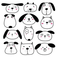 Wall decal dogs, wall decal dogs with cute faces, wall stickers dogs, wall decal animals, wall decal Dog Face Drawing, Dog Drawing Simple, Cute Dog Drawing, Dog Drawing For Kids, Drawing Drawing, Dogs Tumblr, Wall Stickers Dogs, Cute Animal Clipart, Doodle Dog