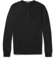 Dolce & GabbanaLong-Sleeved Cotton-Jersey Henley T-shirt