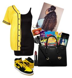 """""""Black nd Yellow"""" by bueatifuljay ❤ liked on Polyvore featuring ONLY, River Island, John Varvatos, Retrò, MICHAEL Michael Kors and NARS Cosmetics"""