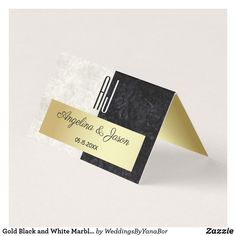 Gold Black and White Marble Wedding Table Place Card - marble gifts style stylish nature unique personalize Card Table Wedding, Wedding Place Cards, Wedding Reception Decorations, Monogram Wedding, Monogram Initials, Black And White Marble, Black Gold, Table Cards, Elegant Wedding
