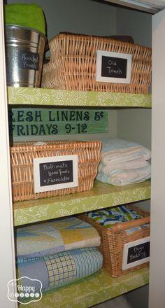 2 Organized Linen Closet at thehappyhousie