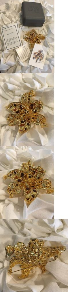 Pins and Brooches 50677: Nolan Miller Large Dimensional Goldtone Crystal Lily Brooch Pin Rare! Nib BUY IT NOW ONLY: $59.99