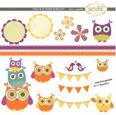 Owl and Flower Clipart in Brights - by saraink  $5.00