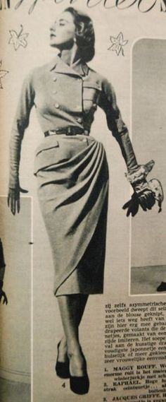 suit, Margriet 1950. This is actually a fairly simple suit with a slim skirt a wrap-over... which can be draped up and fastened in the jacket pocket.