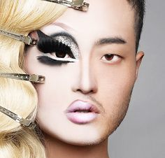 Kim Chi, Her makeup and costume are always amazing! // i love her in drag, but he's also stunning as a guy Drag Queens, Drag Queen Makeup, Drag Makeup, Eye Makeup, Hair Makeup, Kimchi Drag Queen, Kim Chi Drag, Rupaul Drag, Androgyny