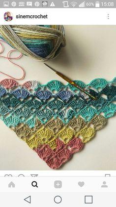 Modern Crochet, Crochet Shawl, Crochet C - Diy Crafts Crochet Shawls And Wraps, Crochet Scarves, Crochet Clothes, Crochet Scarf Diagram, Crochet Stitches, Diy Crafts Crochet, Crochet Projects, Shawl Patterns, Crochet Scarfs