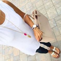 IG @mrscasual <Click through to shop this look> Old Navy white tunic tank.  Paige maternity skinny jeans.  Tory burch moore sandals.  York buckle tote.  Daniel wellington watch.  Kendra Scott Rayne necklace.