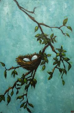 This is a painting, but I would take some inspiration from it to paint a wall that color (faux techniques) and use areal branch attached to the wall and then place a nest there.  hmmmm.  :-)  rr