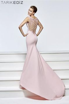 Tarik Ediz 93184 fitted crepe gown with a beaded illusion back.