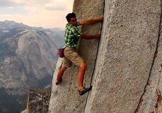 Alex Honnold free solo climbing half dome Yosemite NP