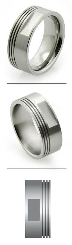 Mens Laser Carved Titanium Stars And Piston Wedding Ring