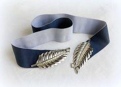 Navy blue Elastic waist belt. Silver leaf buckle. Wide belt. Dress belt. Denim blue belt. by MissLaceAccessories on Etsy
