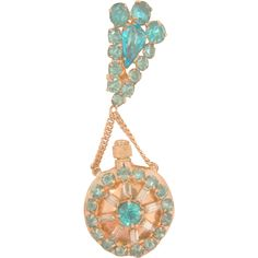 Stunning Rare Art Deco Aqua and clear rhinestone Perfume Bottle Brooch. Features a gold tone round shaped perfume bottle with removable secure screw
