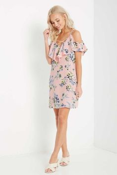 Blush Floral Criss Cross Front Ruffle Cold Shoulder Dress