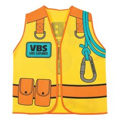 Perfect for your Cave Adventure VBS theme! Gear your Sunday School students up for an exploration of a lifetime with these vests. Printed with a safety rope .