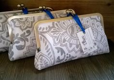 Bridesmaid Clutches- Set of 8 Ivory Taupe Cream Wedding Themed Handmade Custom Clutches by EllseeDesigns