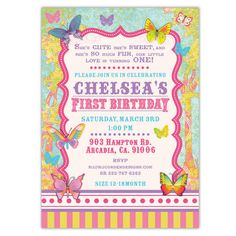 Lovely Butterflies Birthday Invitations – Ian & Lola Design Boutique