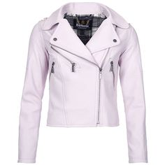 Women's Barbour International Gaverpin Leather Jacket - Amethyst ($830) ❤ liked on Polyvore featuring outerwear, jackets, pastel jacket, leather jackets, genuine leather biker jacket, rider jacket and leather moto jacket