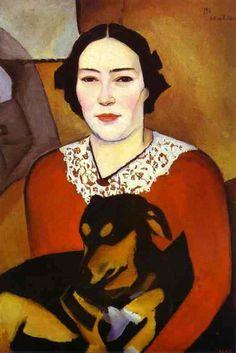 Nathan Altman, 1911, Lady with a Dog (Portrait Of Esther Schwartzmann)