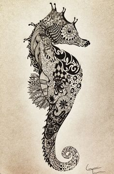 SeaHorse Zentangle Design by TelferZentangle on Etsy