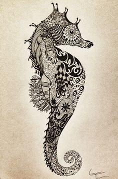 SeaHorse Zentangle Design by TelferZentangle on Etsy
