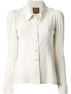 Cream cotton oversize collar blouse from Biba featuring a front button fastening, long sleeves, button cuffs and a straight hem. farfetch.com.