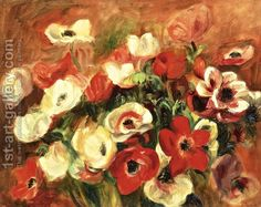 Spray Of Anemones  By Pierre Auguste Renoir