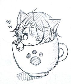 Cats and kittens chibi cute cat, cute cats breeds, cute cat anime, cute cat makeup for halloween, Anime Neko, Anime Kawaii, Cute Anime Chibi, Anime Wolf, Anime Kiss, Anime Naruto, Art Drawings Sketches Simple, Kawaii Drawings, Cute Drawings