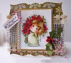 Sparkle Poinsettia Tilda / Jane's Lovely Cards