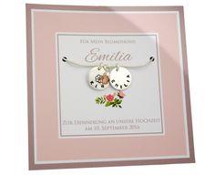 Brautschmuck - Hochzeit Blumenkind Kette mit Gravur 925 Silber - ein…